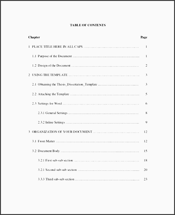 4+ Table Of Contents Template for Business Document