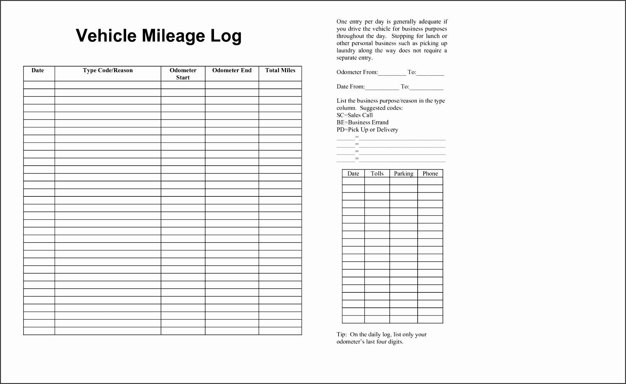 6 Truck Mileage Log Template
