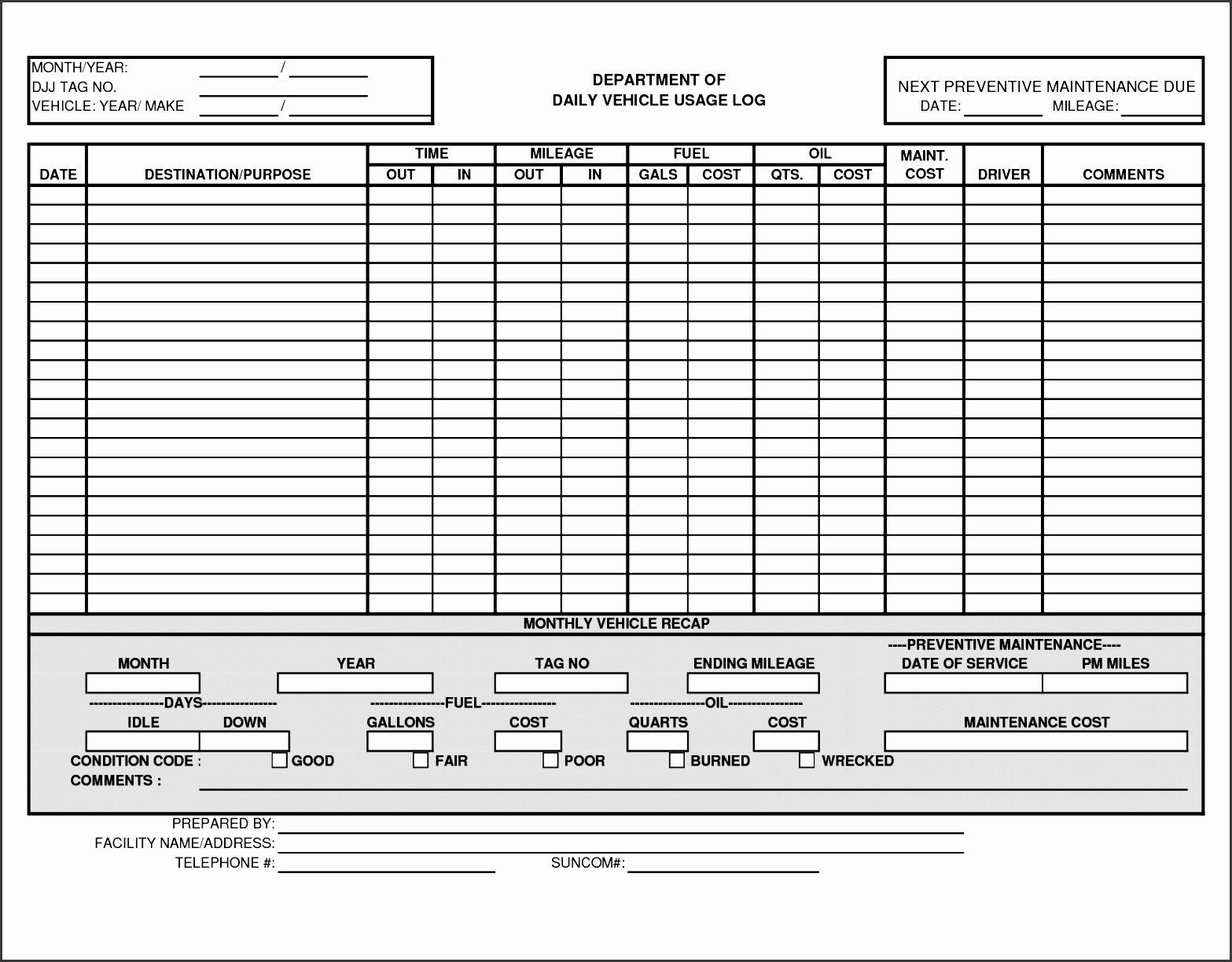 free vehicle expense log template active crossover wiring diagram 6 truck mileage sampletemplatess