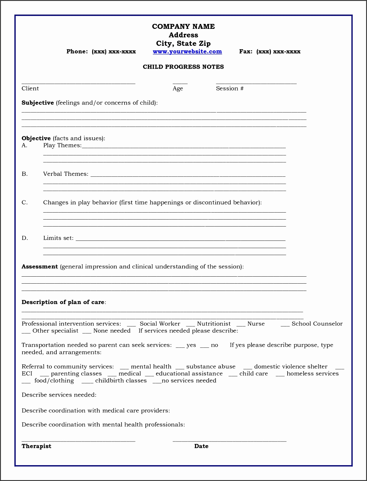 8 Clinical Notes Template