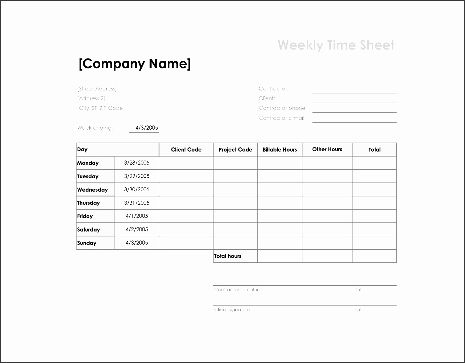 8 Free Printable Time Cards Templates