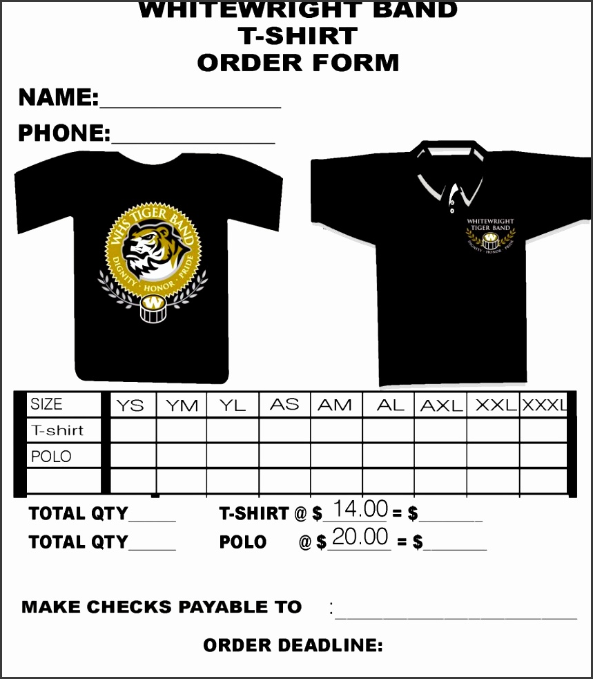 10 Free T Shirt order form Template Word