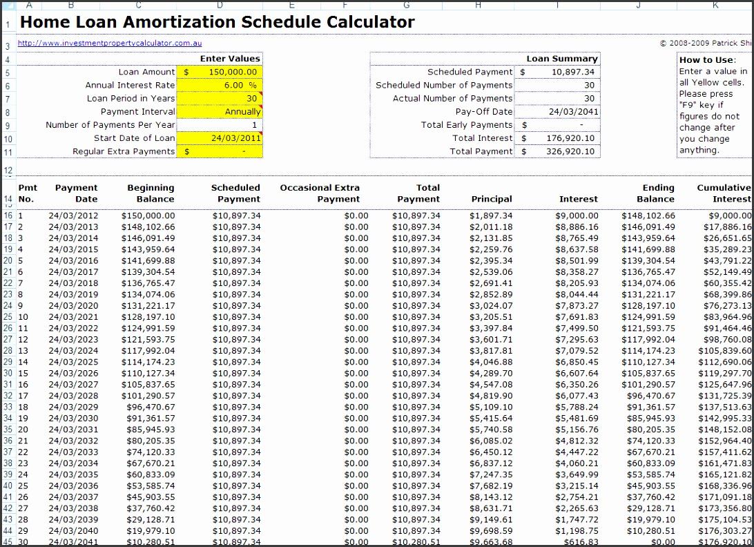 Amortization Schedule Worksheet