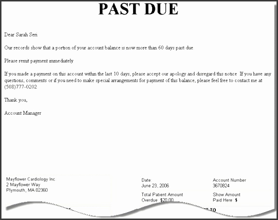 past due letter template