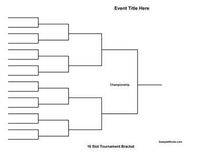 Free Printable 16 Team Tournament Bracket
