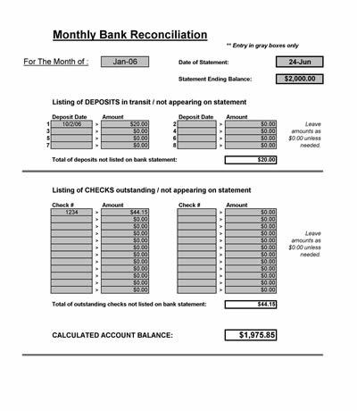 Bank Reconciliation Spreadsheet - Microsoft Excel