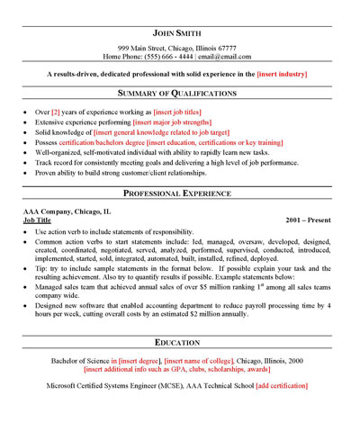 Generic Resume Examples General Resume Examples Career Center