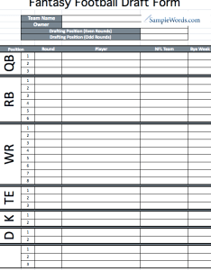 Fantasy football draft form also printable rh samplewords
