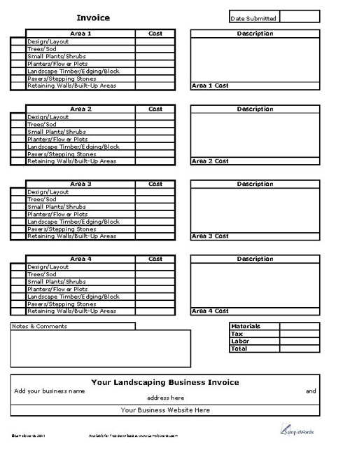 Landscaping Business Invoice
