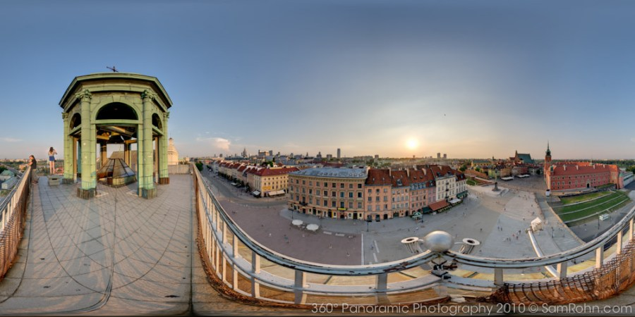 View of old city from St. Anne's Church Bell Tower - Warsaw  :: 360° Panorama