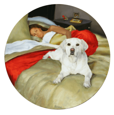 Colette and Jack, Oil on Board, 48-inch diameter, Sold