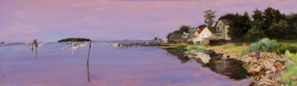 Dawn at Stoney Creek, Watercolor and Gouache on Paper, 20 X 48