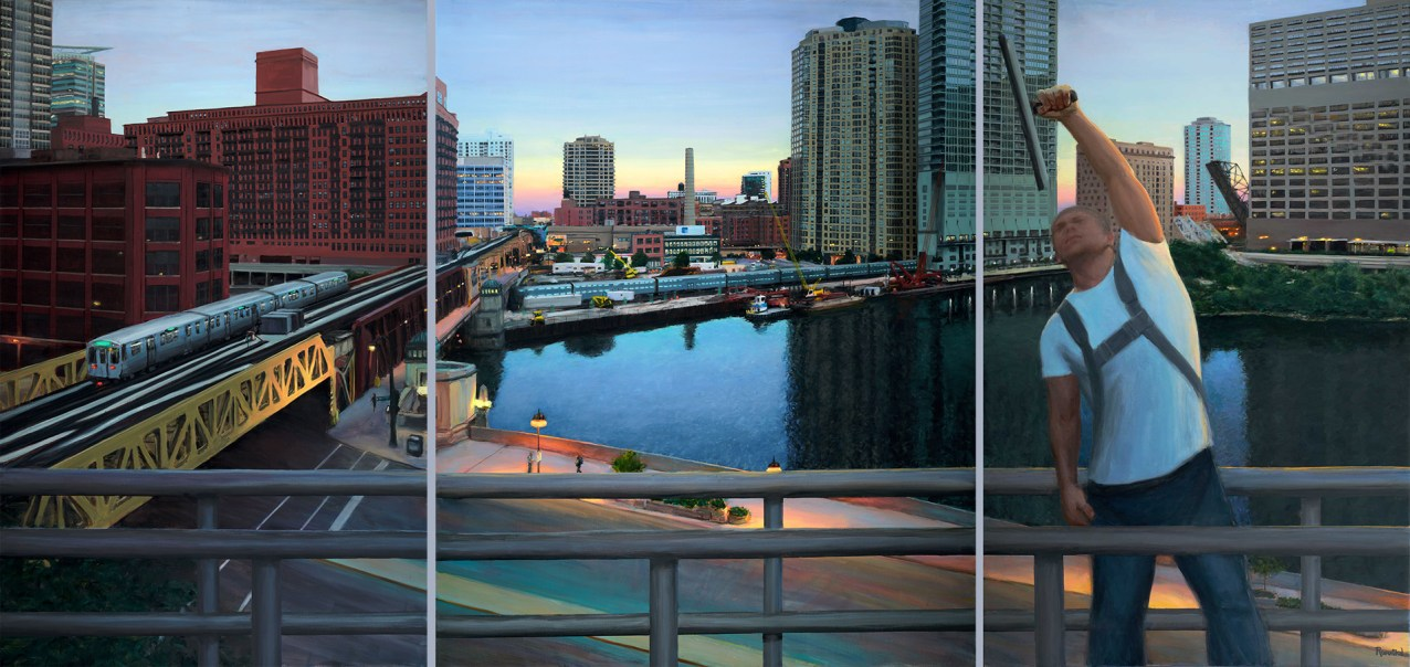 Early to Work (333 Wacker Drive), 75 X 48, 75 X 60, 75 X 48, Sold