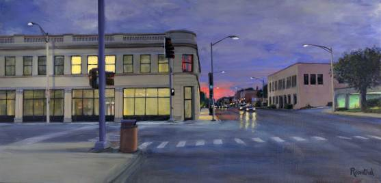 Madison and Oak Park Avenue at Sunset, 24 X 52
