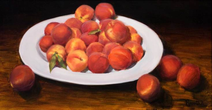 Platter of Peaches, 14 X 24, Sold