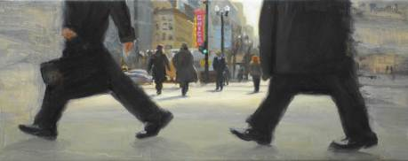 Walking by State Street, 18 X 45, Sold