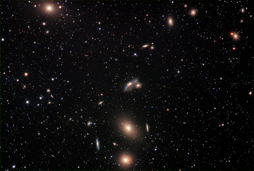 Markarian's Chain of Galaxies ; M84 (NGC 4374), M86 (NGC 4406), NGC 4477, NGC 4473, NGC 4461, NGC 4458, NGC 4438 and NGC 4435