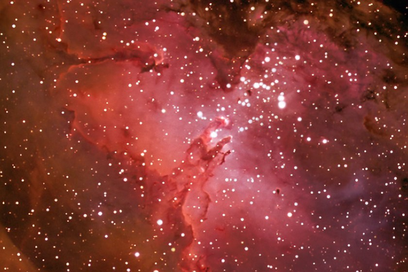 Eagle Nebula M16 NGC 6611, Crop image highligthening the Pillars of Creation""