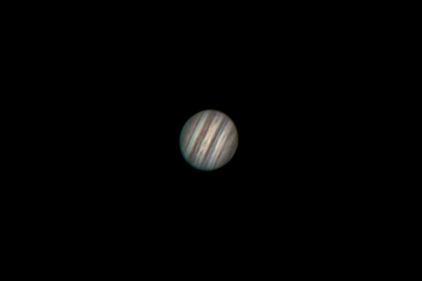 "This image of Jupiter is the result of stacking images from an avi file. The video was captured with a Phillips ToUcam through a Celestron 11"" SCT. The focal length was increased with a TeleVue 2.5x Barlow to yield a focal length of F/25 6985mm. A Losmandy G11 Equatorial mount was used to support the Telescope and equipment."