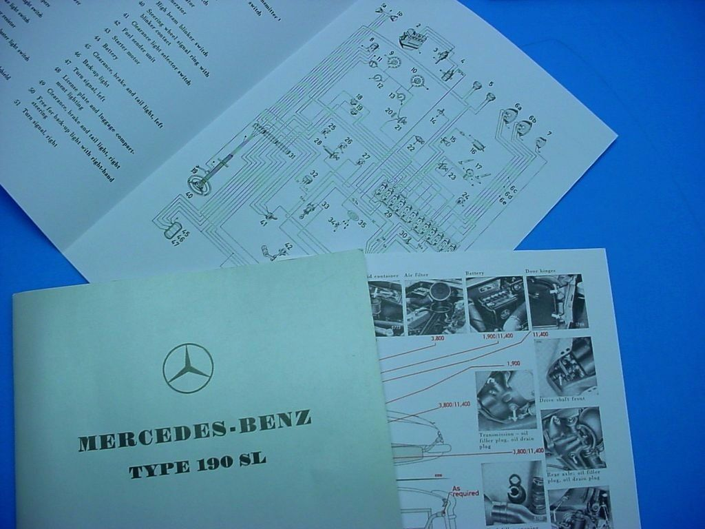 hight resolution of 1 owner s manual type 190 sl 1955 63 part ql 6510 9020 02 1 parts catalog type 190 sl 1959 part 6510 4433 13 important note this literature is not