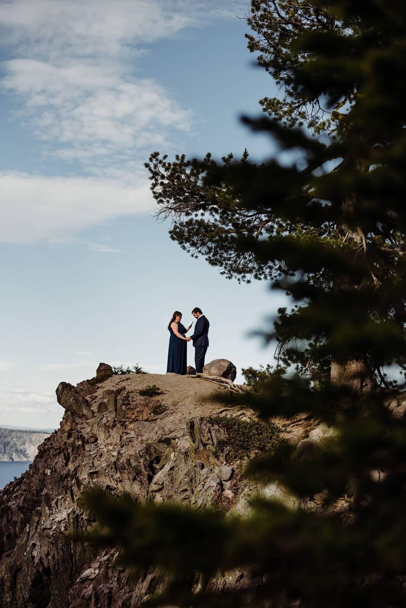 Crater Lake,adventure elopement photographer,adventure photographer,adventure session,elope,elopement,intimate wedding,jesse butler,kim butler,national park,oregon,pacific northwest,sam starns,vow renewal,
