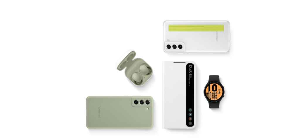 Flat lay of Smart Clear View Cover in Violet, Galaxy Watch Active2 in Rose Gold, Galaxy Buds Pro in Phantom Violet, the Smart LED View Cover in Pink, and S21 Plus 5G seen from the rear with the Smart LED Cover in White.