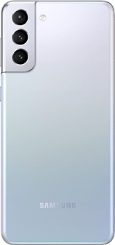 Galaxy S21 Plus 5G in Phantom Silver, seen from the rear.