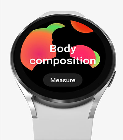 The front of the Galaxy Watch4's watch face is shown with the Body Composition feature on, waiting to measure.