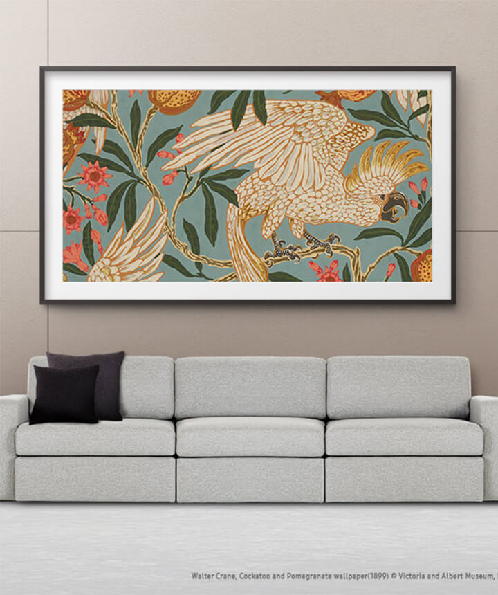 framed artwork for living room design pictures india the frame tv art store curate collections l samsung us hanging on a wall in above white couch and plants