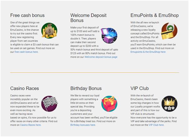 Emu Casino Bonus offers in AUD