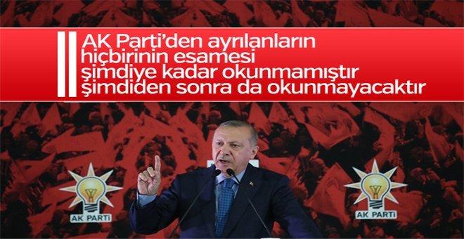 Cumhurbaşkanı Erdoğan'dan partiden ayrılanlara tepki