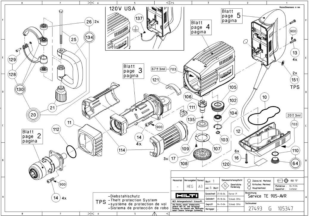 hilti te5 hammer drill parts