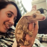 The author, Heather L. Gilbraith, a white woman with black hair, is sticking her tongue out in the background, a little out of focus. In the foreground a hand holds up a crested gecko, which also has its tongue sticking out.