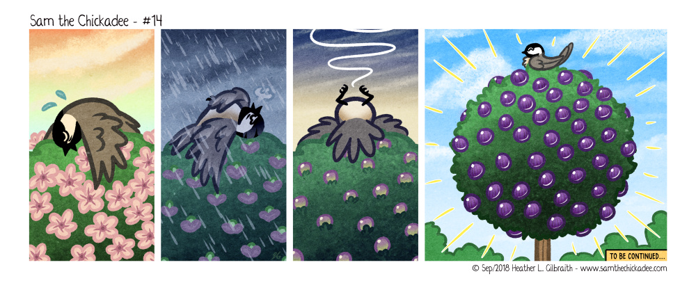 Sam is shown exhausted, lying on top of the berry bush, as it is shown overtime blossoming and starting to fruit from his hard magical work. The final panel shows him triumphantly perched atop it with the berry bush covered in bright, plump, ripe, purple berries.