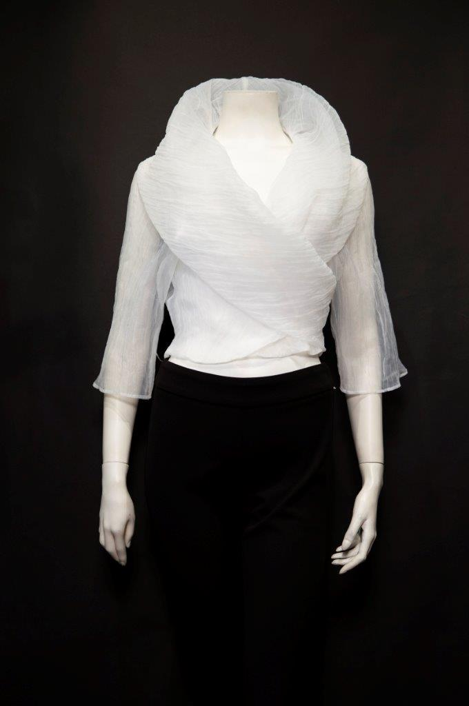 Chic White Black Gold half sleeve organza bolero for
