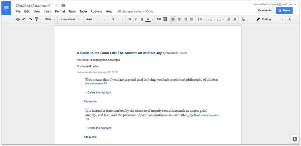 A Guide to The Good Life in Google Docs