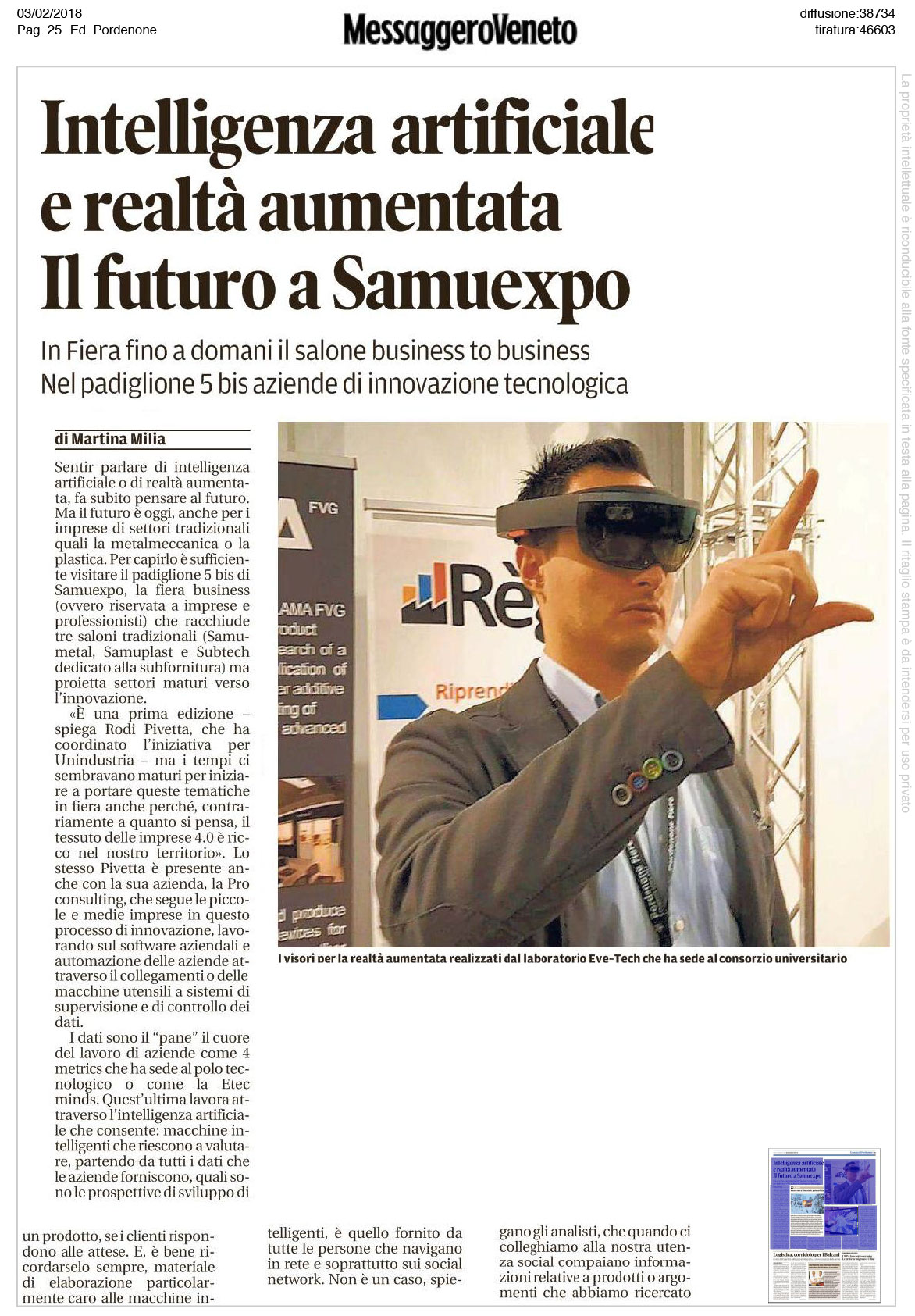 meess art 1 Messaggero Veneto   03/02/2018