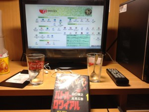 I don't watch much television but when I do I make sure it is in another language.  Picture from one of my stays at a manga kissa.  Battle Royale manga, empty glasses, internet and a remote control.   Classic!