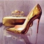 FSJshoes gold mirror leather stiletto heel pumps