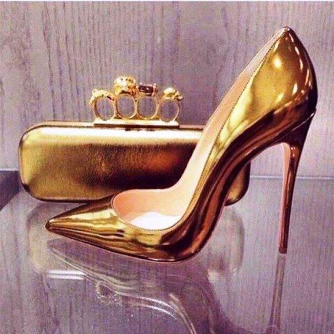 FSJshoes gold mirror leather stiletto heel pumps