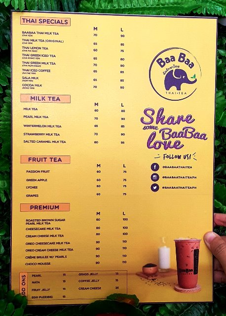 Baa Baa Thai Tea Menu