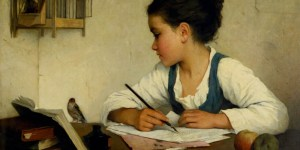 Browne,_Henriette_-_A_Girl_Writing;_The_Pet_Goldfinch_-_Google_Art_Project-
