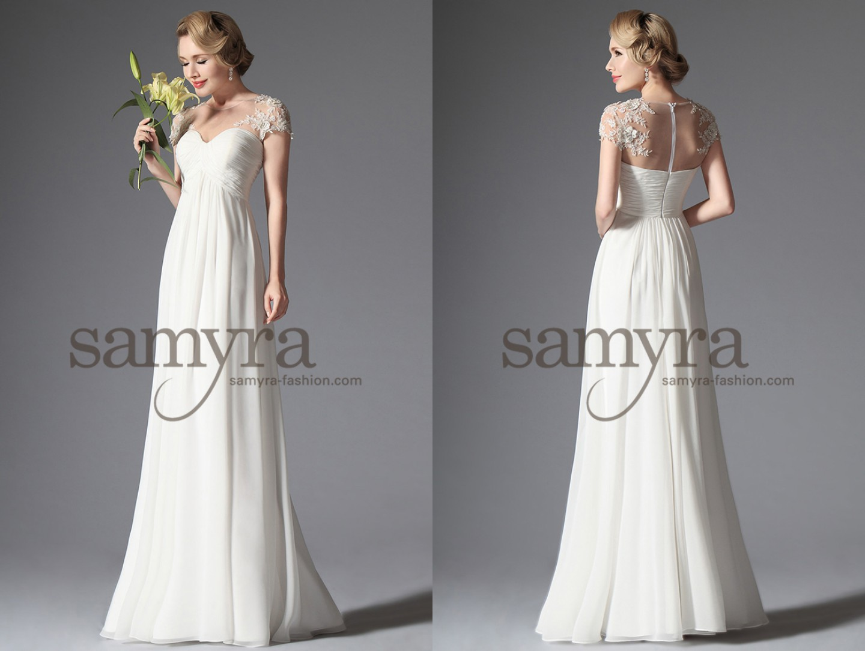Brautkleid Ohne Schleppe Mit Spitzen Ärmeln Samyra Fashion