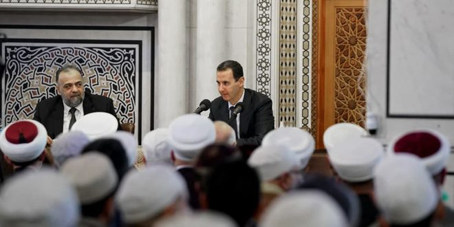 President al-Assad at a meeting for religious scholars: Religion forms the essence of thought as it influences all aspects of life