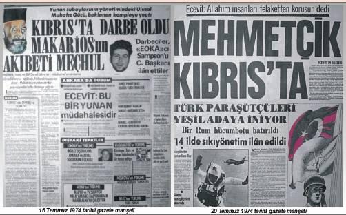 """""""Mehmetçik Kıbrısta"""" gazete haberleri."""
