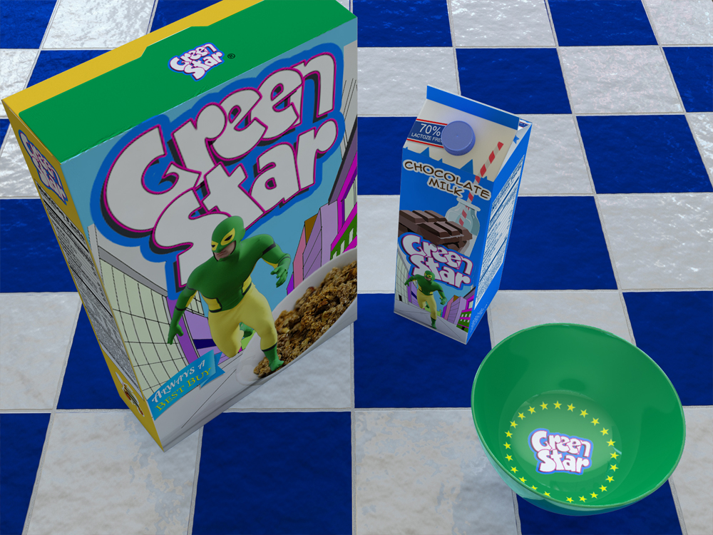 Cereal Box and Cereal Bowls and Carton of Milk Mock-Up by Sanchi477.com