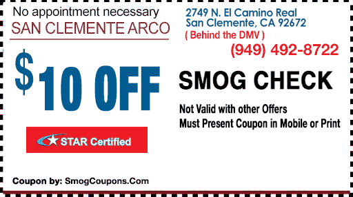 Smog Check with Smog Coupon STAR Station in San Clemente, CA