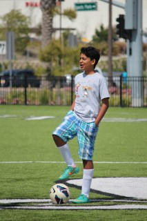 Angel Lagunas, an eighth grader at Bernice Ayer Middle School, participated in this week's GRIP soccer program at Vista Hermosa Sports Park. Photo by Steve Breazeale