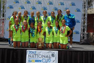 The U14 So Cal Blues Ali team (pictured) is one of three youth soccer teams representing the San Juan Capistrano-based club at the US Youth Soccer Far West Regional Championships, June 17-23. Courtesy photo
