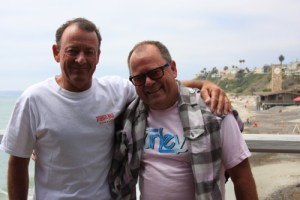 """Peter """"PT"""" Townend's brother Craig Townend (left) traveled from Australia to attend the SIMA Waterman's Ball. Here the two were having lunch together at Fisherman's Restaurant at the San Clemente pier. Photo by Andrea Swayne"""